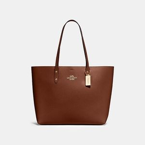 Coach Leather Town Tote In Saddle Terracotta New!
